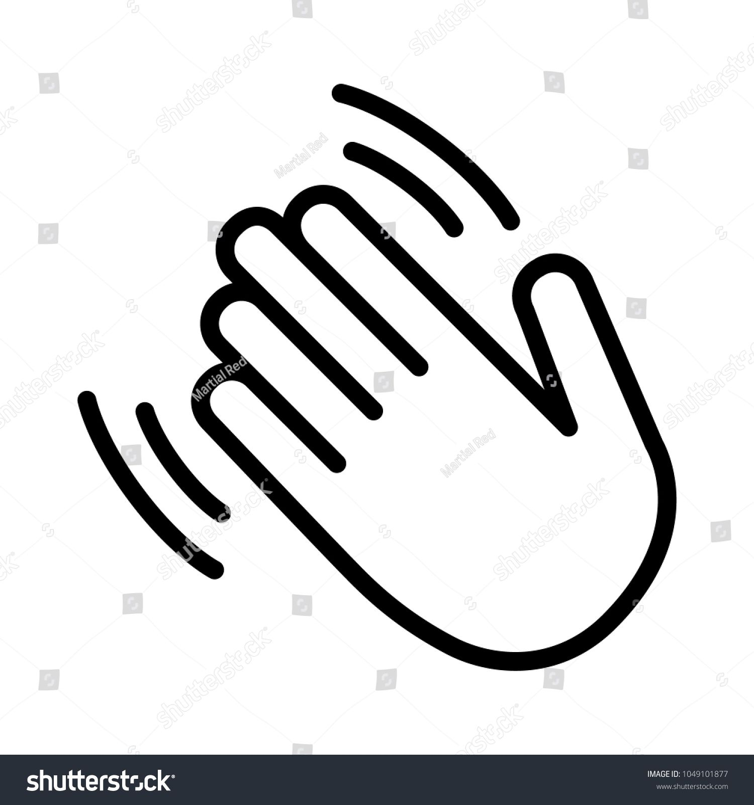 Hand wave \u002F waving hi or hello gesture line art