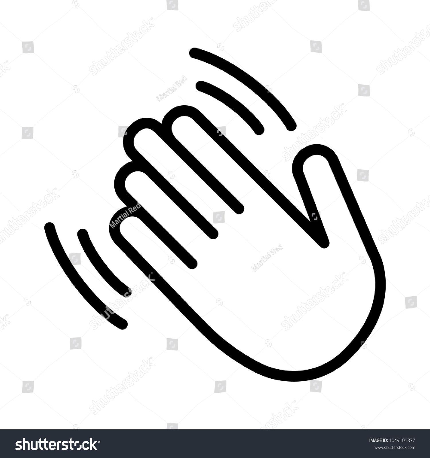 Hand wave \u002F waving hi or hello gesture line art
