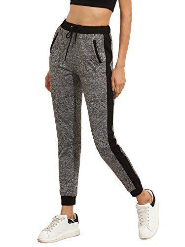 f0999af1b76d6 SweatyRocks Women Pants Colorblcok Casual Tie Waist Yoga ... https://www