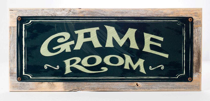 Billiards Metal Sign,On Handmade Rustic Reclaimed Wood Frame Eight Ball Pool