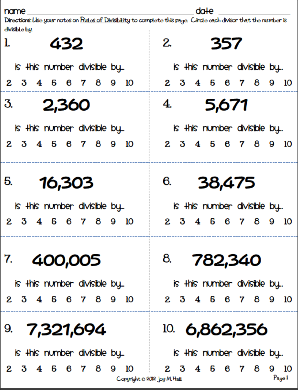 Divisibility Rules Worksheet Pdf Divisibility rules