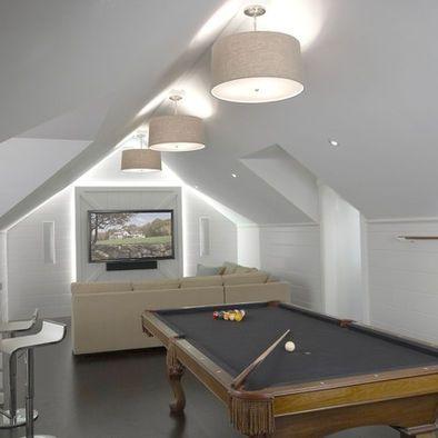 Attic Game Room Sloped Ceiling