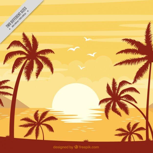 Fondo De Playa Con Palmeras Al Atardecer Vector Gratis Dibujos