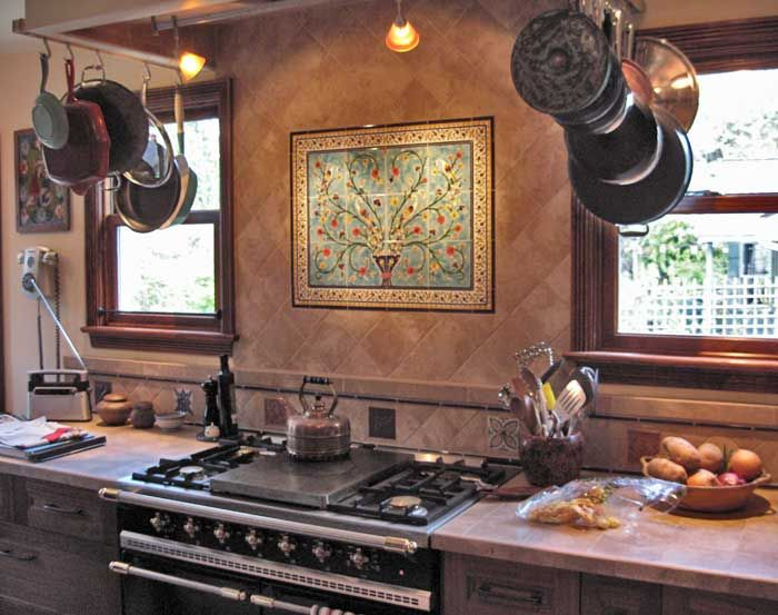 Kitchen Sink Backsplash Pomegranite Islamic Tile Mural Ceramics Magnificent Kitchen Sink Backsplash Inspiration Design
