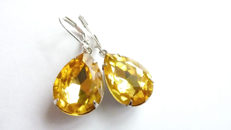 Yellow Topaz Earrings Golden By Dewdropsdreams 19 99