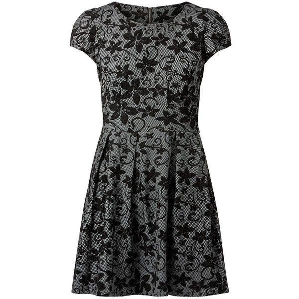 Mela Black Floral Print Skater Dress ($21) ❤ liked on Polyvore featuring dresses, flower print dress, mini dress, flower pattern dress, round neck dress and zip dress