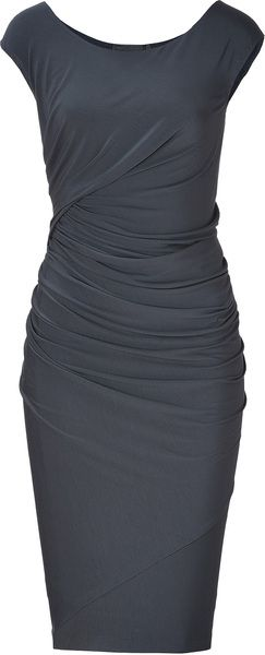 dbfd5305fa2 Donna Karan New York Carbon Cap Sleeve Draped Jersey Dress - Lyst