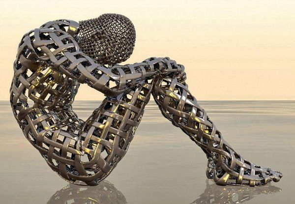 Metal sculpture of human form, amazing!