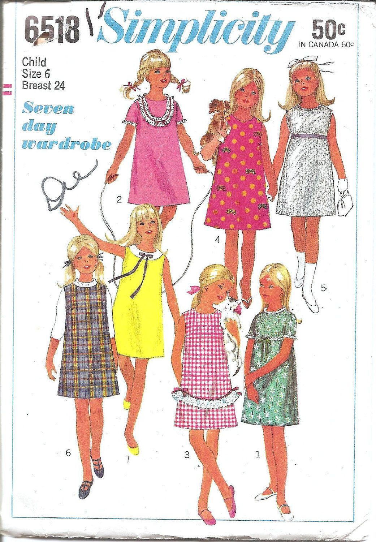 1960s girls dress jumper simplicity 6518 vintage sewing pattern 1960s girls dress jumper simplicity 6518 vintage sewing pattern size 6 mod girls jeuxipadfo Choice Image