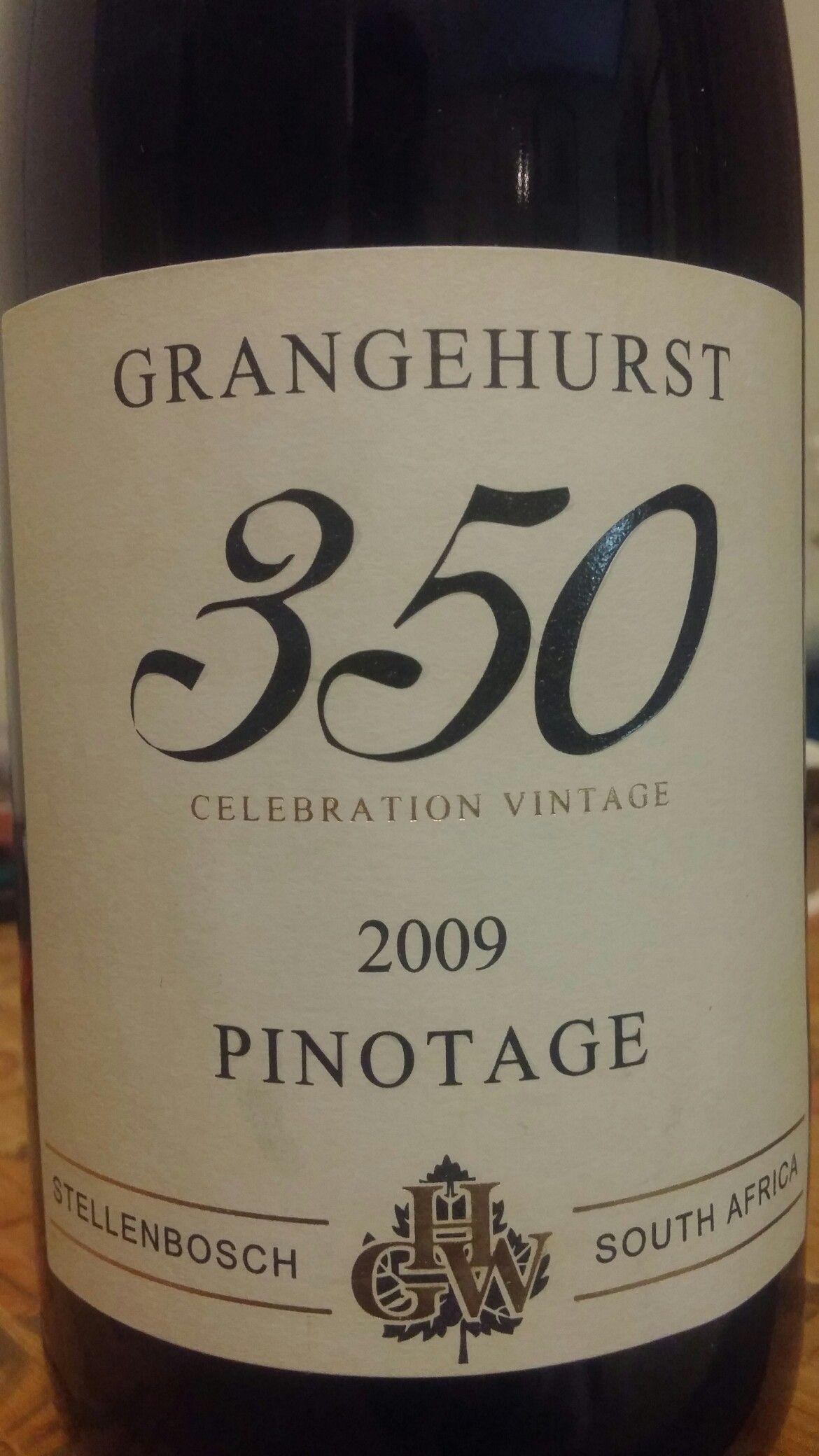 Grangehurst 350 Celebration Vintage Stellenbosch Pinotage 2009 Southafrica Wine Miguelchan Pinotage Stellenbosch P Wine Journal Wine Lovers Wine Bottle
