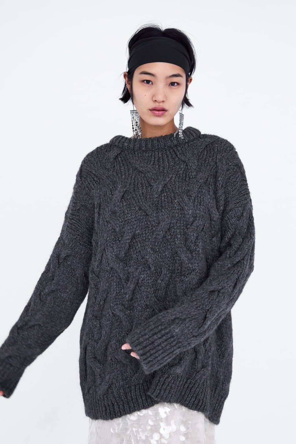 50e499e7191a59 Image 6 of CABLE KNIT SWEATER from Zara