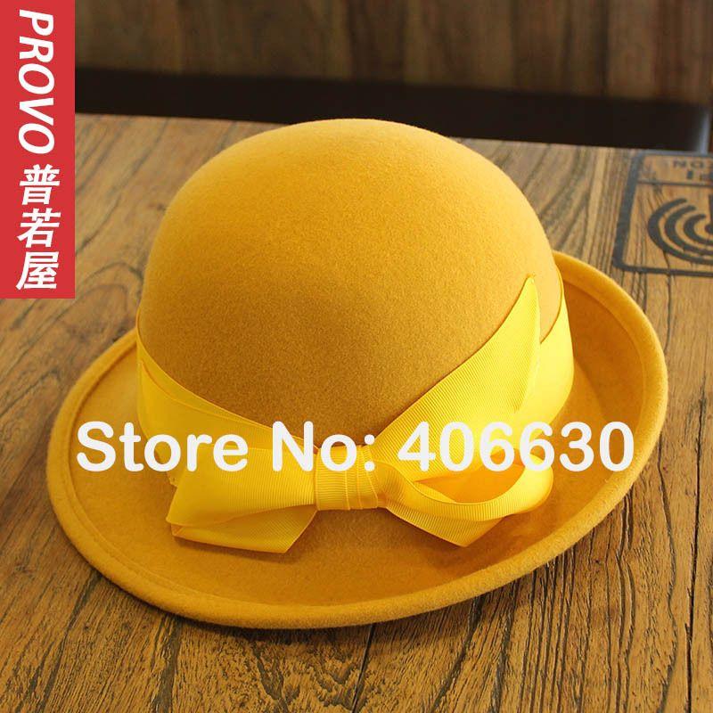 8df3dae3f84 Winter Yellow Wool Bucket Hats Women Felt Bowler Caps Female Derby Chapeau  Fedoras Free Shipping PWFR-016