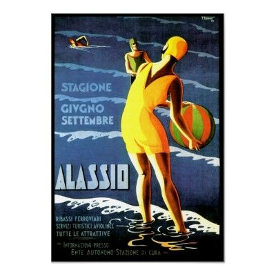 Alassio Italy ~ Vintage Italian Travel Poster by TheVintageVamp