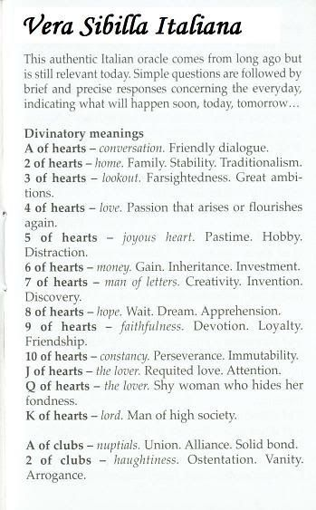 Sibilla Oracle (La Sibylle des Salons) Card Meanings