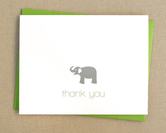 """Show your gratitude with these vibrant, folded thank you cards. A perfect gift for any new mom, especially if the new mom is you!  DETAILS A set of 16 - 4.25"""" by 5.5"""" folded cards printed on heavyweight (80lb) white or ivory cardstock with matching A2 envelopes. Convo me if you would like a different quantity and I will create a custom listing for you.  ORDERING When you place your order, please include the following in the """"notes to seller"""": 1. your text color 2. your elephant color *If you…"""