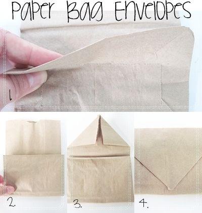 Paper Bag Envelopes. I would stitch the sides