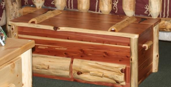 log rustic furniture amish. Amish Cedar Log Hope Chest With Drawers Rustic Furniture