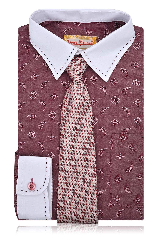 Boys burgundy paisley dress shirt with hawnstooth tie