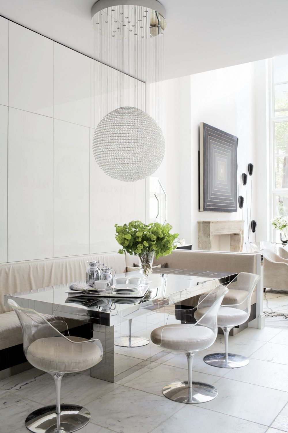 Holly Hunt Fabric Mirrored Table Erwine And Estelle Laverne Lucite Chairs Tom Dixon Pendant Light Contemporary Dining Room By Pamplemousse Design