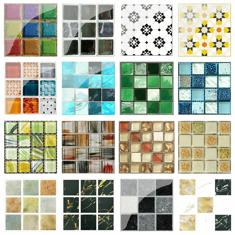 19//20pcs Mosaic Self-adhesive Bathroom Kitchen Decor Home Wall 3D Tile Sticker