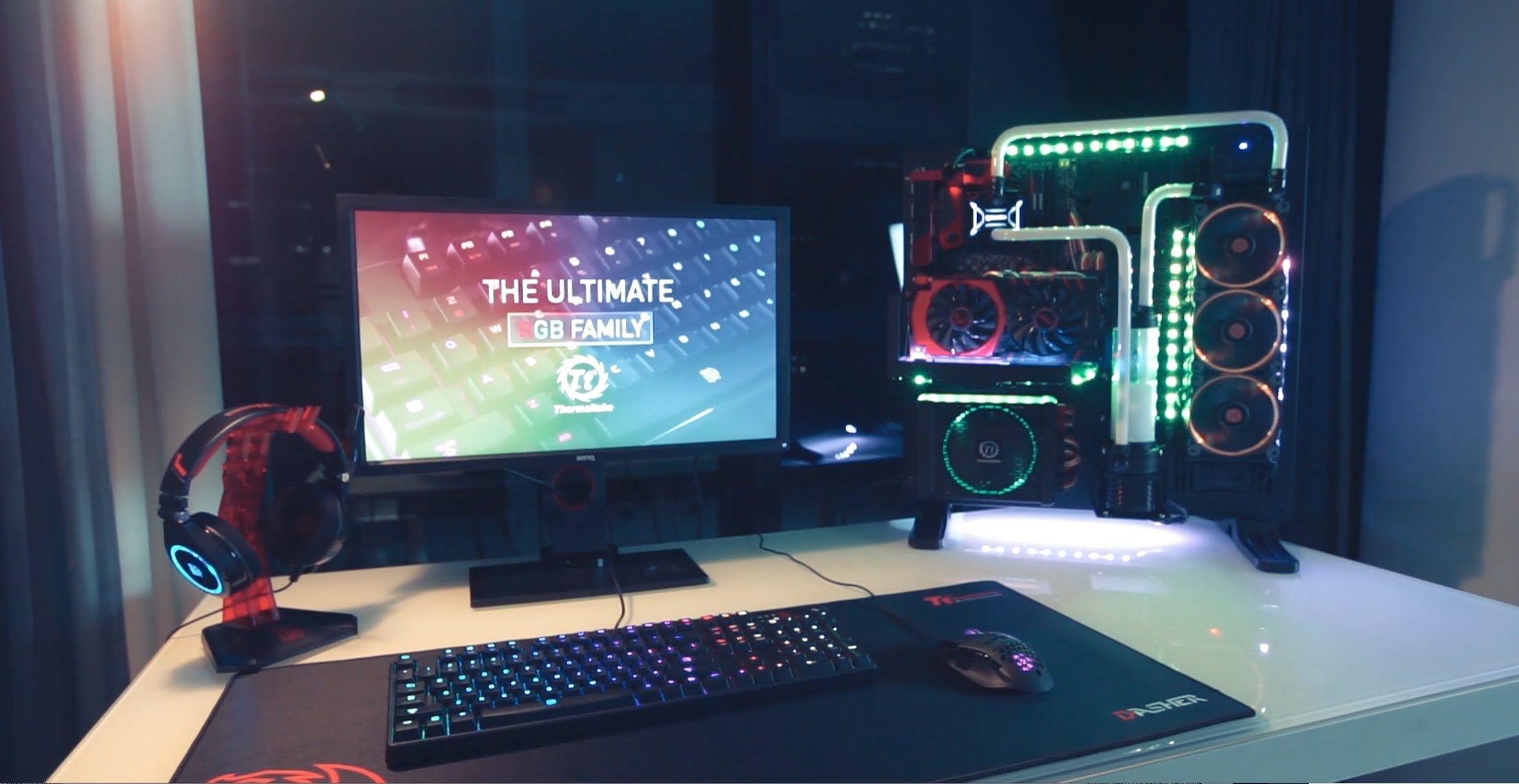 My ultimate gaming setup man cave bedroom june 2014 youtube - Thermaltake Rgb Family Full Thermaltake Rgb Core P5 Setup Give Away In Description