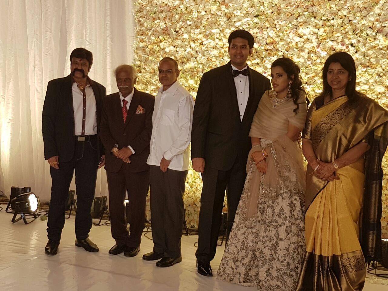 Blessed the couple Sri Deven (Grandson of Late Shri Nandamuri Taraka Rama Rao garu) and Amruthavalli, along with Shri Nara Chandrababu Naidu, Chief Minister of Andhra Pradesh and Shri Naini Narshimha Reddy, Home Minister of Telangana.