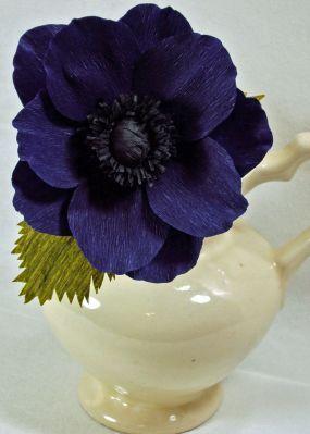 crepe paper flower  deep purple anemone  DIY  paper
