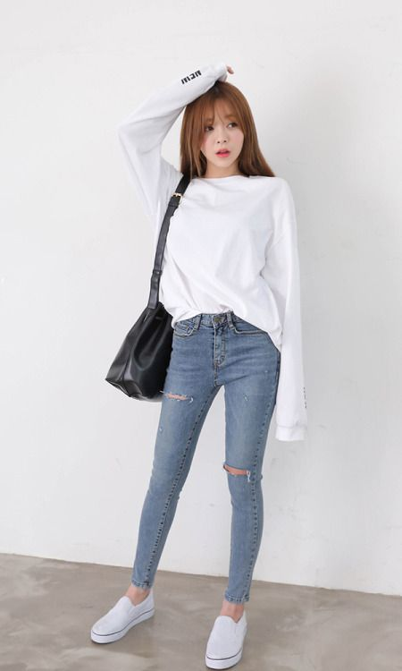 New tastes tee and skinny jeans korean fashion pinterest skinny jeans skinny and korean Korean fashion style shoes