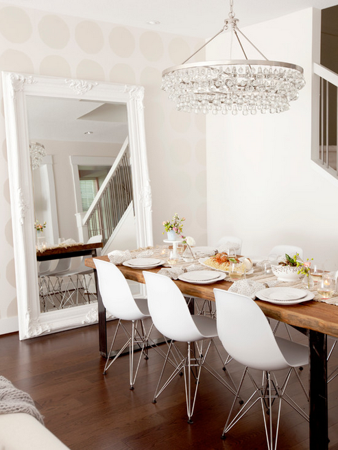 Gorgeous And Serene Dining Space With Beautiful Beaded Light Interesting Dining Room Mirrors Modern Design Decoration