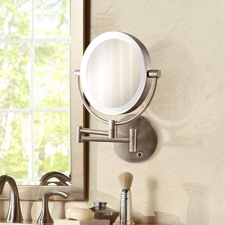 Satin Nickel Cordless Led Lighted Vanity Wall Mirror 6g559 Lamps Plus Vanity Wall Mirror Wall Mounted Makeup Mirror Wall Mounted Magnifying Mirror