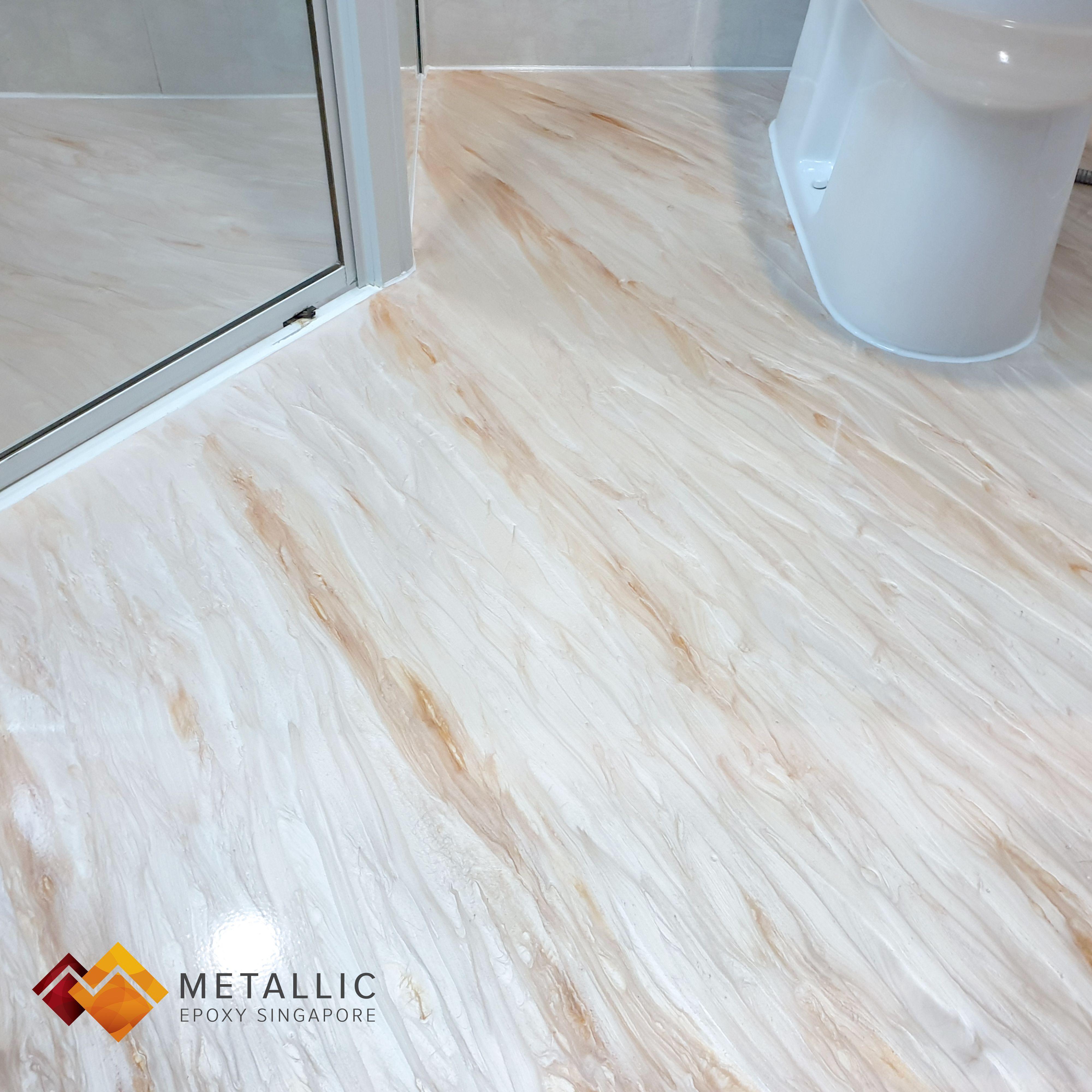 Metallic Epoxy Singapore Orange Gold Wood Design Bathroom Floor Bathroom Flooring Wood Design Gold Wood