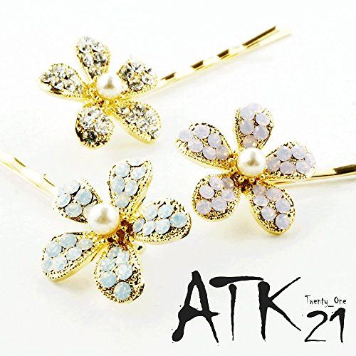 Atk21 大人可愛い フラワー パール ラインストーン かわいい ヘアピン