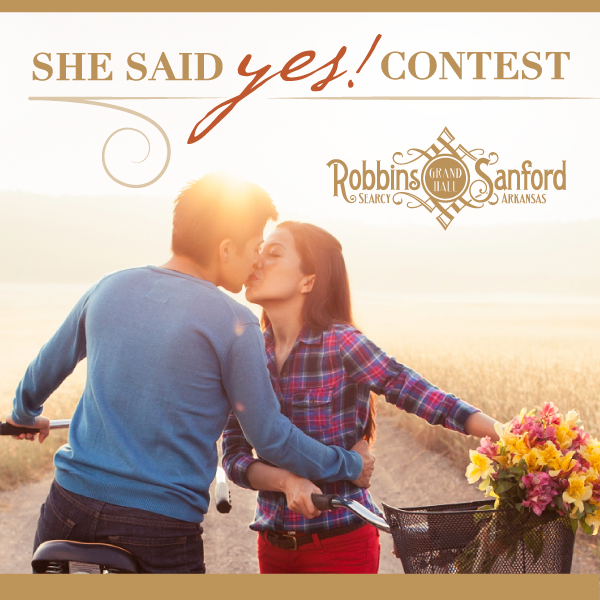 Enter the 'She Said Yes!' Contest by clicking http://a.pgtb.me/5J54LP for an opportunity to win a FREE weekend at Robbins Sanford!