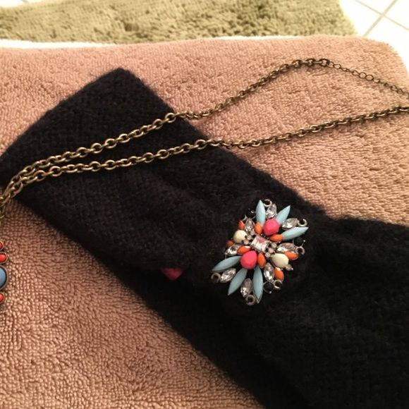 Beautiful headband (fuzzy winter type) & necklace Betsy Johnson crystal and bejeweled head warmer and similar colored stones necklace (longer variety) $20 headband, necklace $25 $40 for both. Betsey Johnson Jewelry