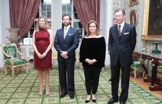 Grand Duke Henri and Grand Duchess Maria Teresa along with the Hereditary Grand Duke Guillaume and Hereditary Grand Duchess Stephanie host a dinner for Luxembourgish government officials at Chateau de Berg 3/11/2014