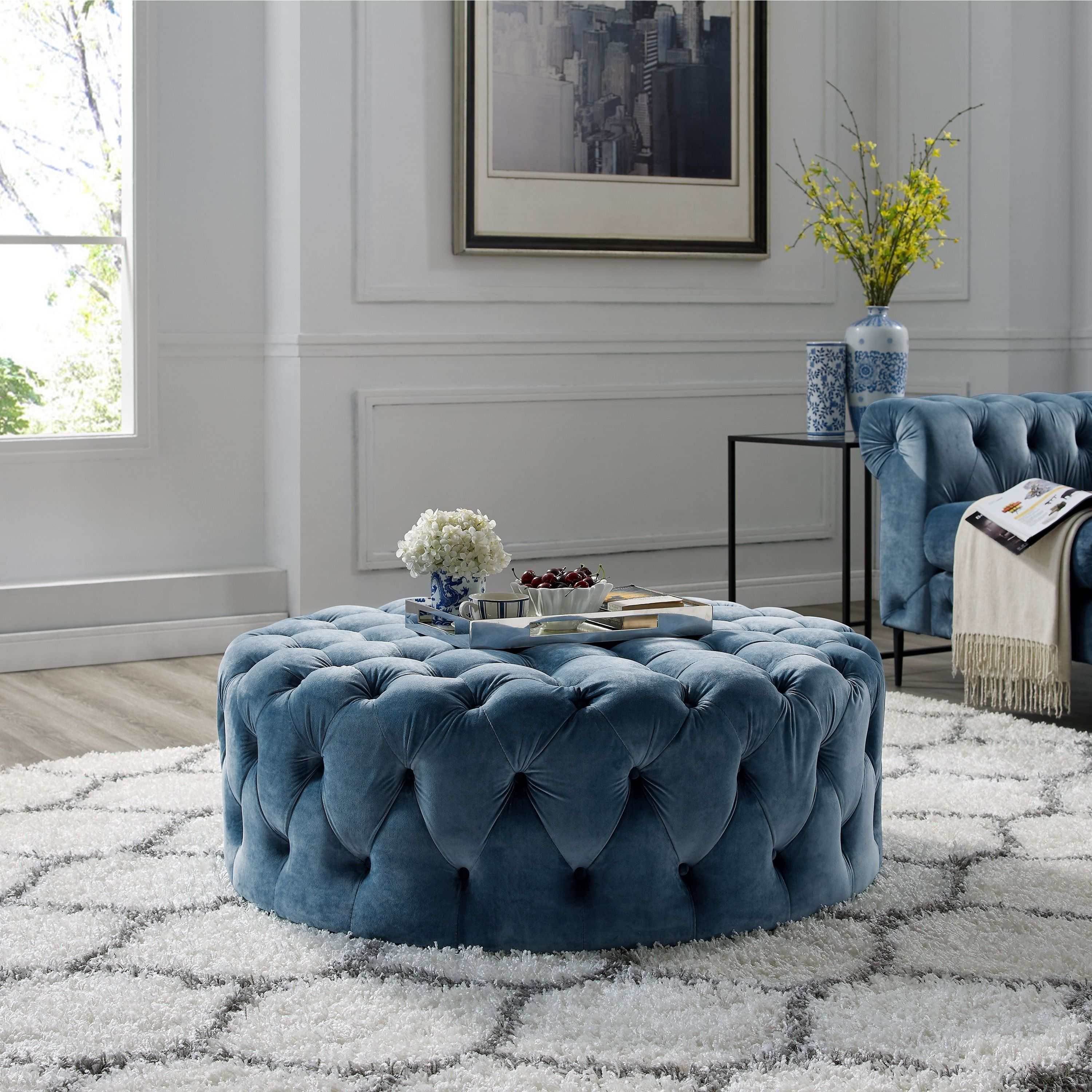 Our best living room furniture deals corvus padova round tufted velvet ottoman with casters french blue size large foam