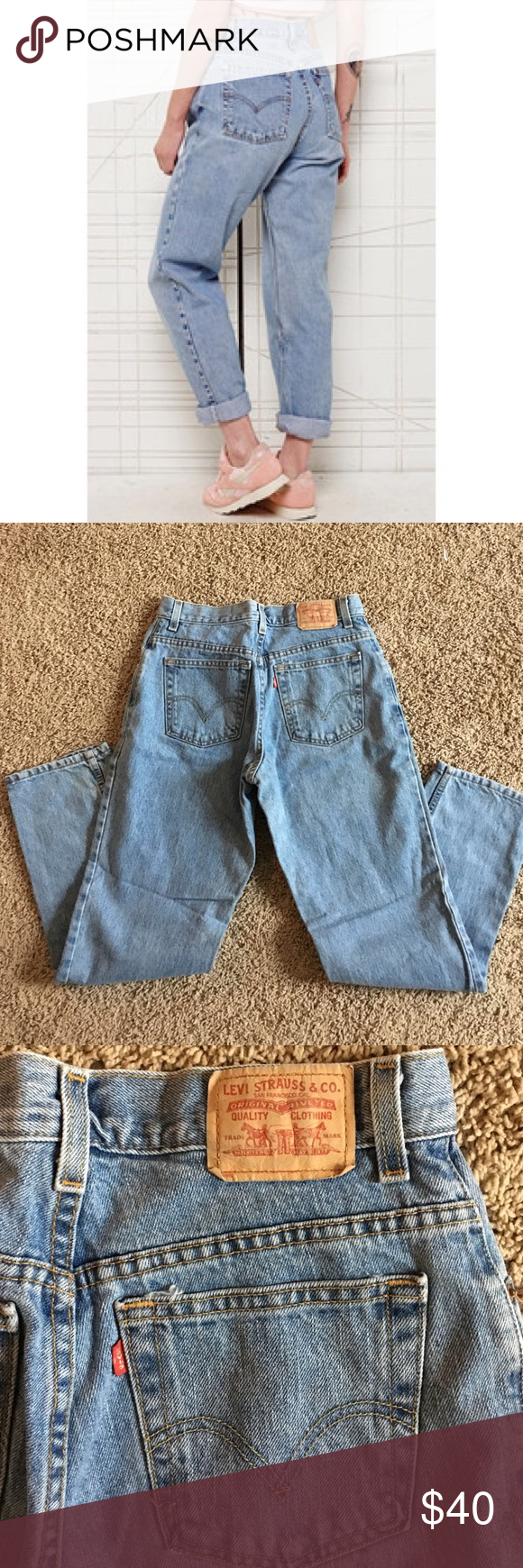 Vintage Levi's 550 Classic Levi's 550 high waisted mom jeans in excellent conditions medium to lighter wash. Waist is 29/30 inches and inseam is 31 inches but can always but cut or rolled to adjust ❤️ Levi's Jeans