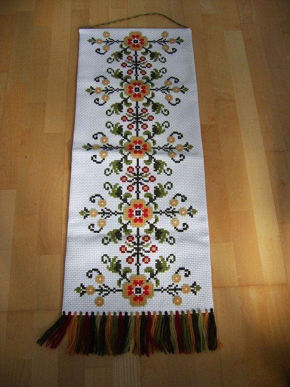 Folk Vintage Swedish Cross Stitch Wall Embroidery. Folk Art. Wall ...