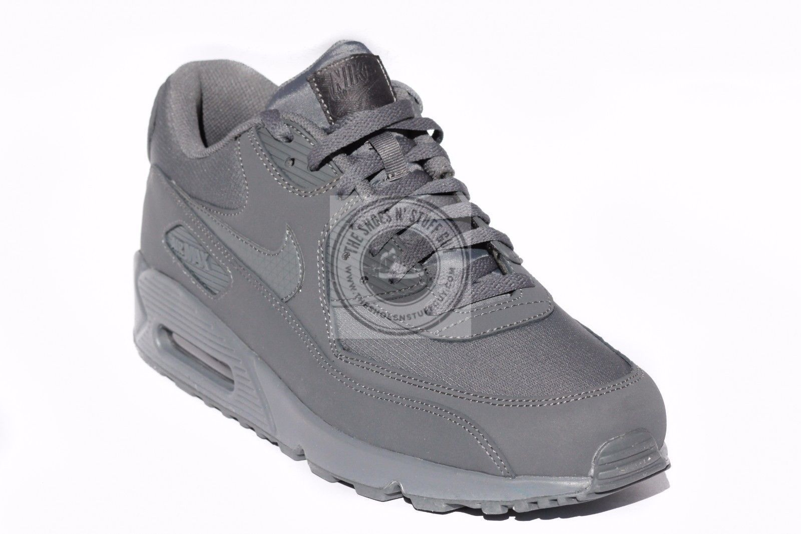 d7fc9613e17a New Men s Nike Air Max 90 Leather Running Shoes Dark Gray 537384 051 Size  12.5