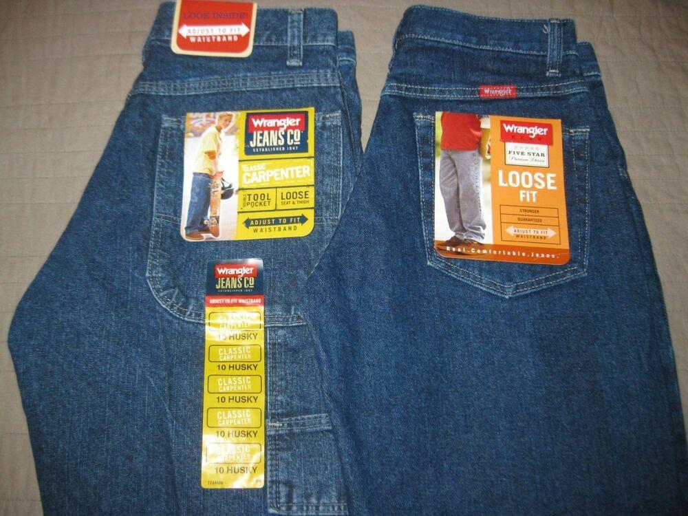 Lot 2 Pair Wrangler Loose Fit Carpenter Denim Jeans Boys Size 10 Husky Nwt Fashion Clothing Shoes Accessories K Boys Jeans Boys Denim Jeans Wrangler Jeans