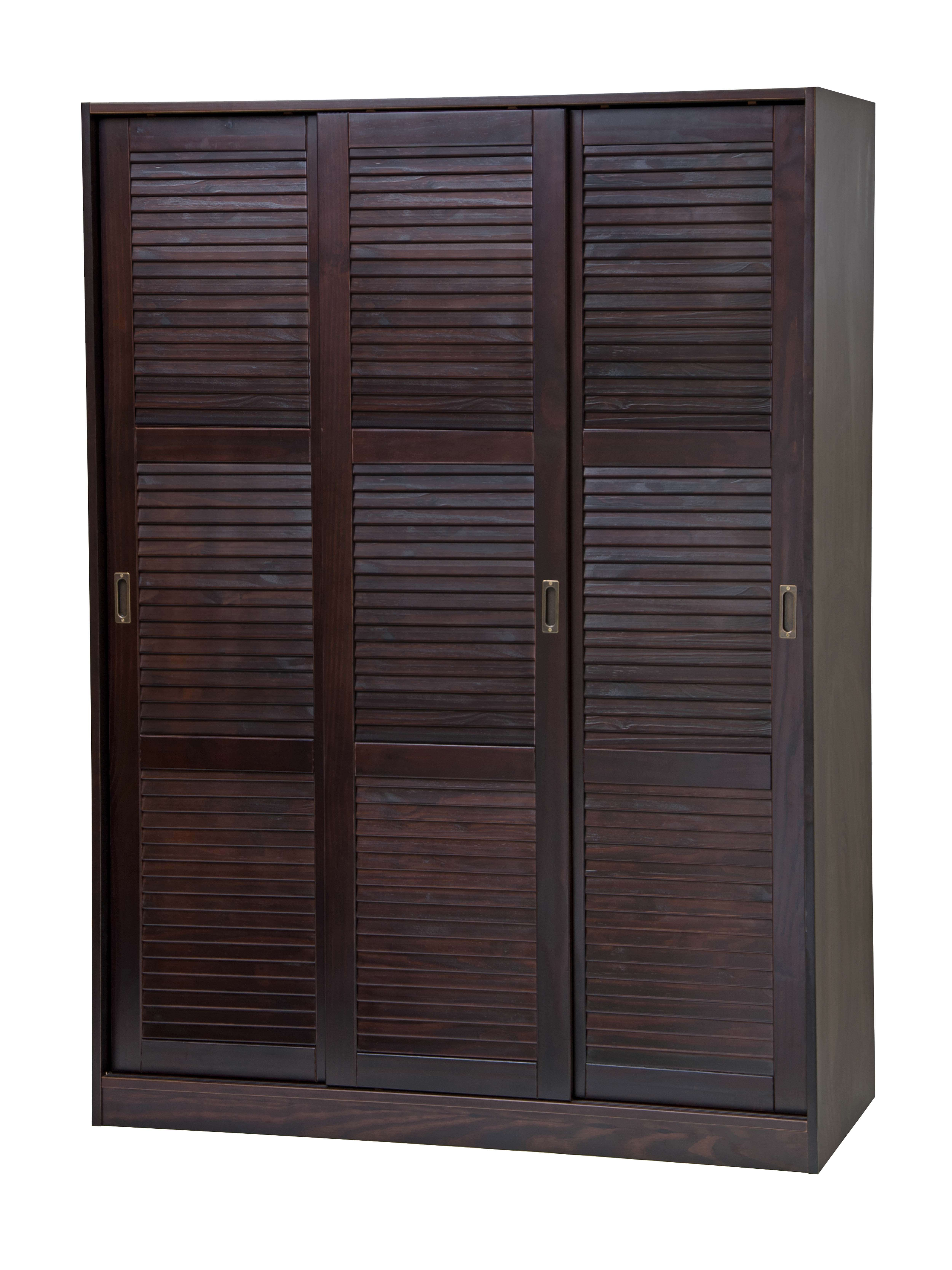 Palace Imports 3 Sliding Door Solid Wood Wardrobe Closet Armoire