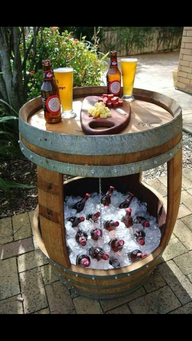 wine barrel table top cooler backyard ideas pinterest wine rh pinterest com