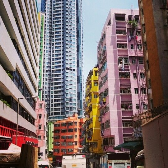 Hong Kong colored buildings