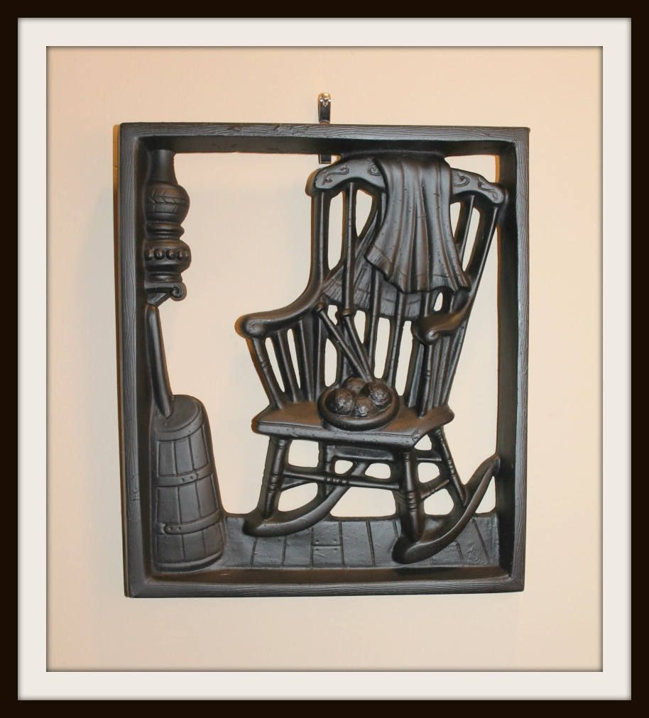 rocking chair silhouette. Black 3D Silhouette Antique Rocking Chair, Knitting And Butter Churn Wall Decor, Vintage Farmhouse Chair
