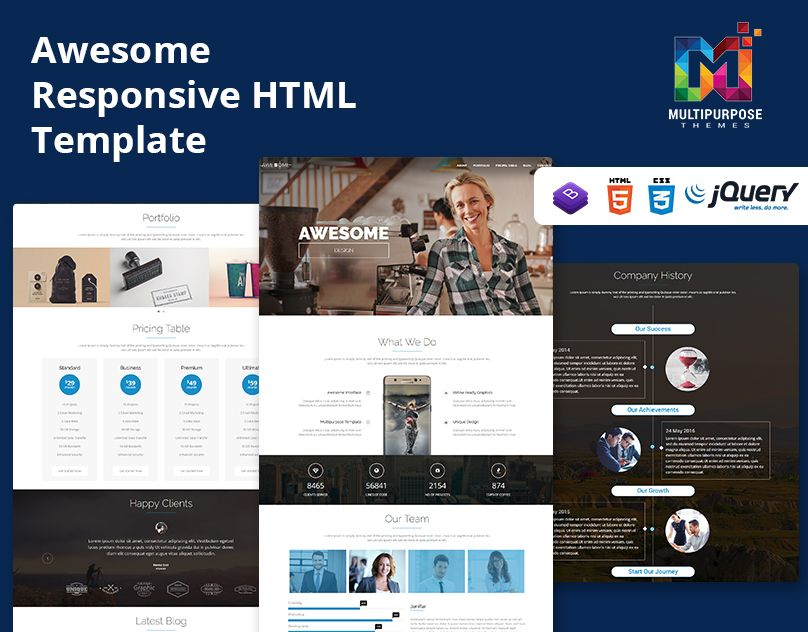 Awesome Responsive Onepage Parallax Html Template Html Templates Templates Free Html Templates