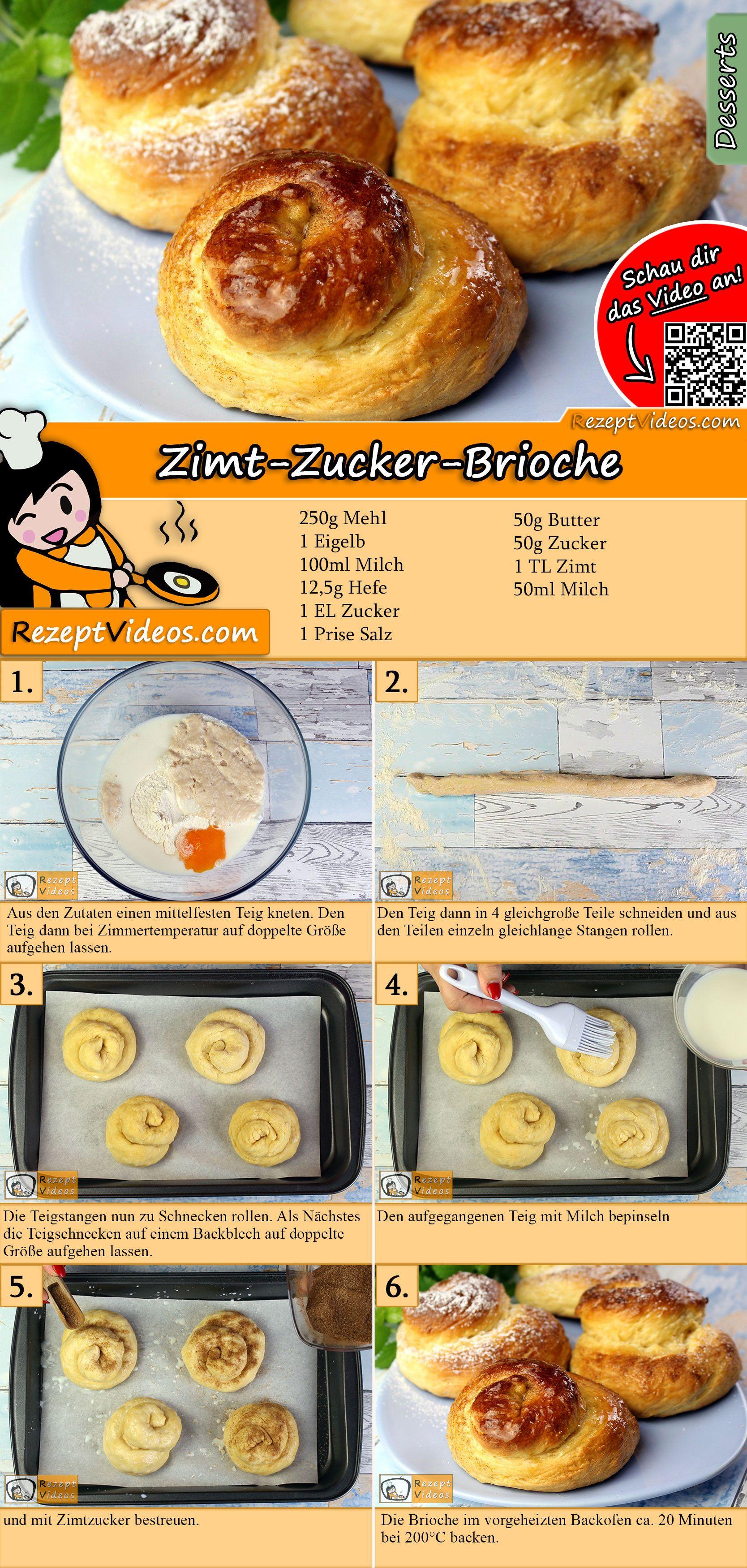 Zimt-Zucker-Brioche Rezept mit Video - süße Brioche Brötchen backen
