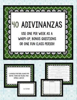 Adivinanzas Task Cards - Bellringers, Warm-Ups, Worksheet ...