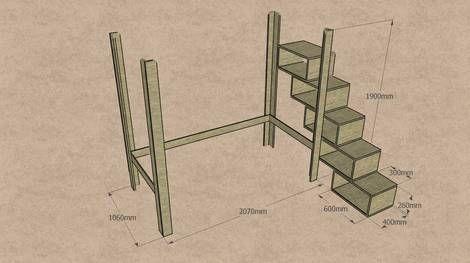 Hochbett: Maße Für Das Bettgestell Und Die Treppe. Hochbett KinderKinder  EtagenbettenHochbett ...