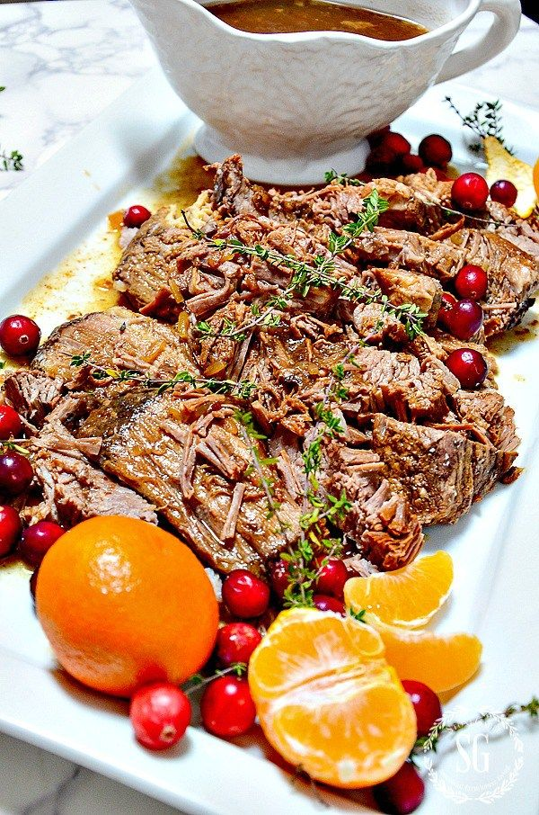 Make Day Before Holiday Beef Brisket A Scrumptious Slow Cooker Mak Christmas Recipes Dinner Main Courses Christmas Dinner Main Course Christmas Food Dinner