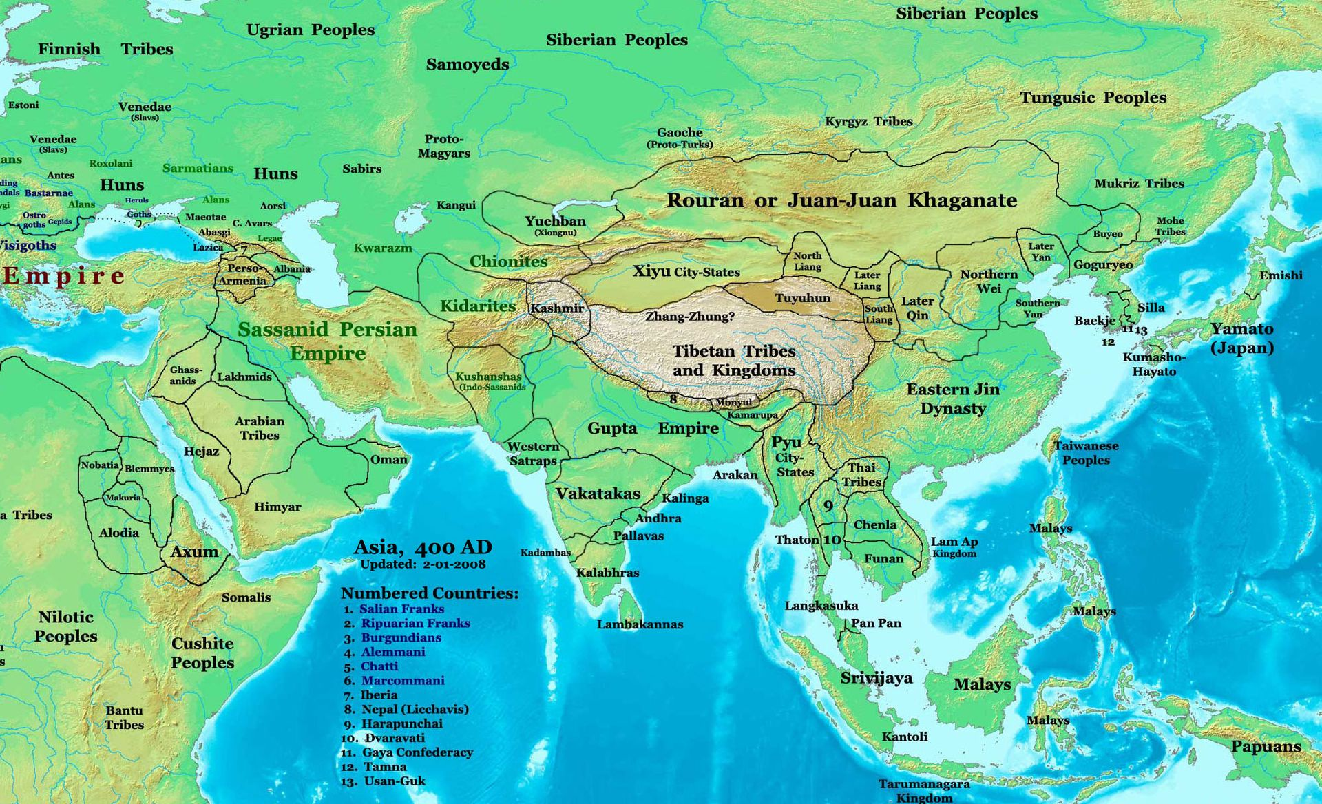 Map of asian nations
